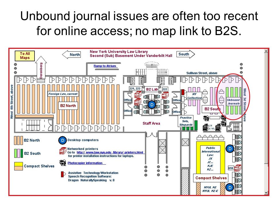 Unbound journal issues are often too recent for online access; no map link to B2S.