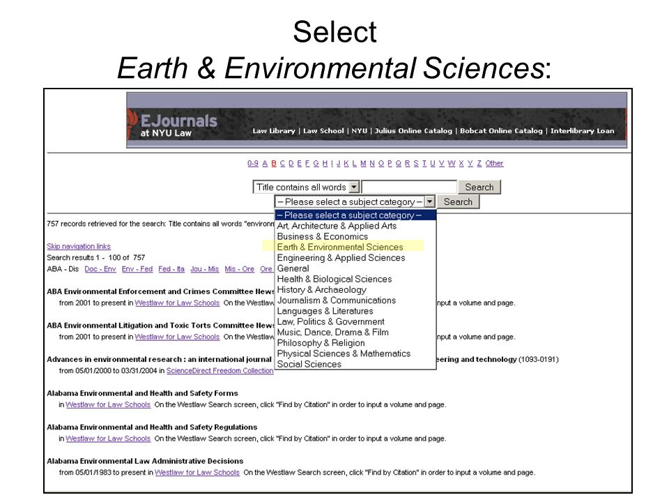 Select Earth & Environmental Sciences: