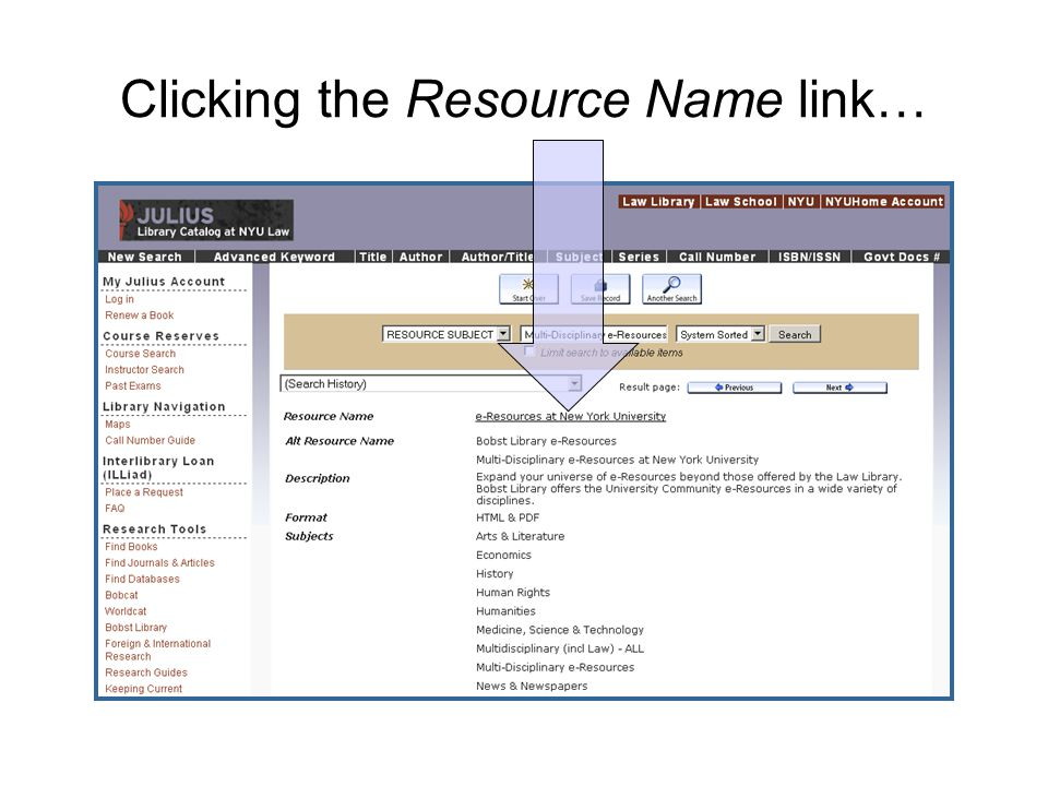 Clicking the Resource Name link…