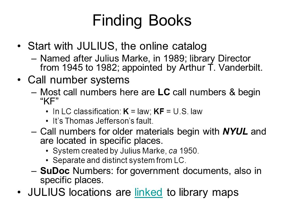 Library home page The 1 st 2 links under RESEARCH: Julius Online Catalog and Books, Journals & Databases, take you to the same screen.