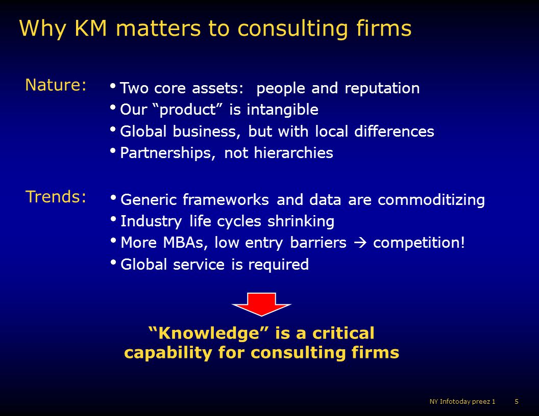 6 NY Infotoday preez 1 Knowledge example in consulting Youre working in the PC Industry Data Knowledge Market size Market share Competitor prices A commodity The best way to segment the consumer market How to streamline the supply chain Impact of supplier consolidation on OEMs A differentiator World class KM programs manage & share both