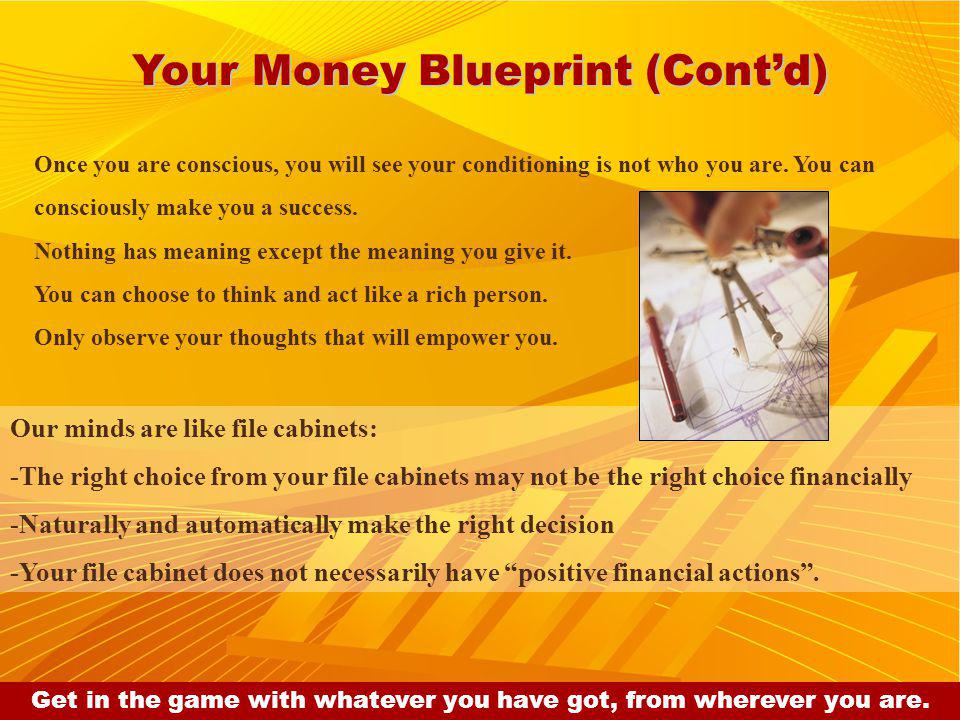 Your Money Blueprint (Contd) Once you are conscious, you will see your conditioning is not who you are.