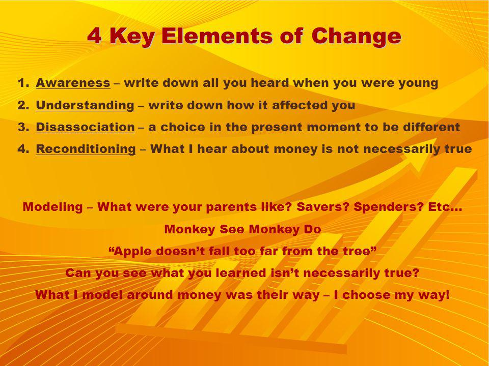 4 Key Elements of Change 1.Awareness – write down all you heard when you were young 2.Understanding – write down how it affected you 3.Disassociation – a choice in the present moment to be different 4.Reconditioning – What I hear about money is not necessarily true Modeling – What were your parents like.