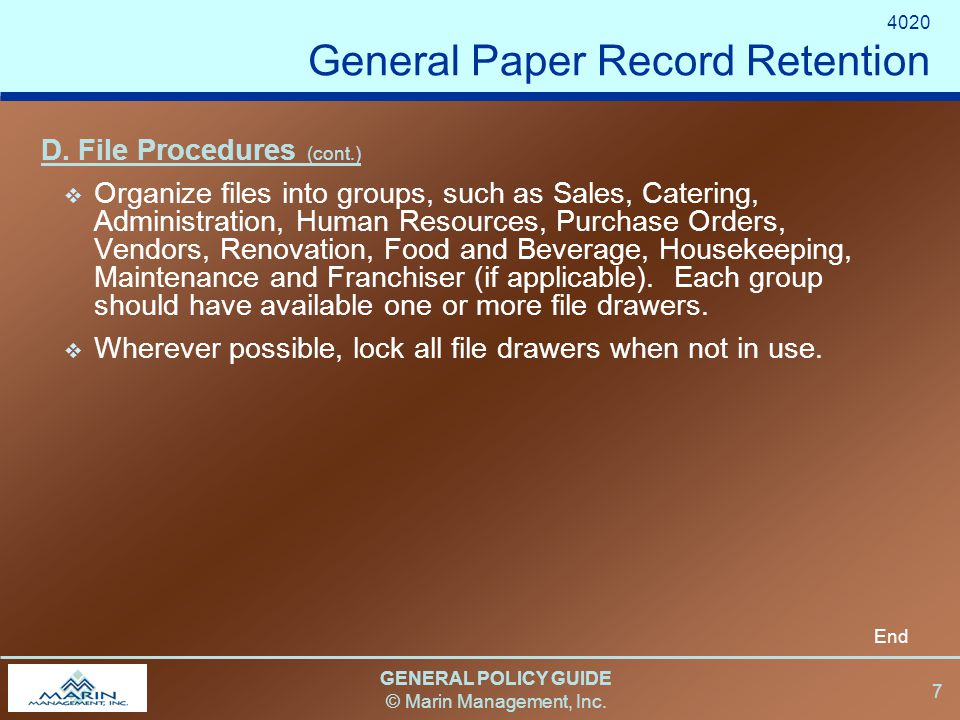 GENERAL POLICY GUIDE © Marin Management, Inc. 7 D.