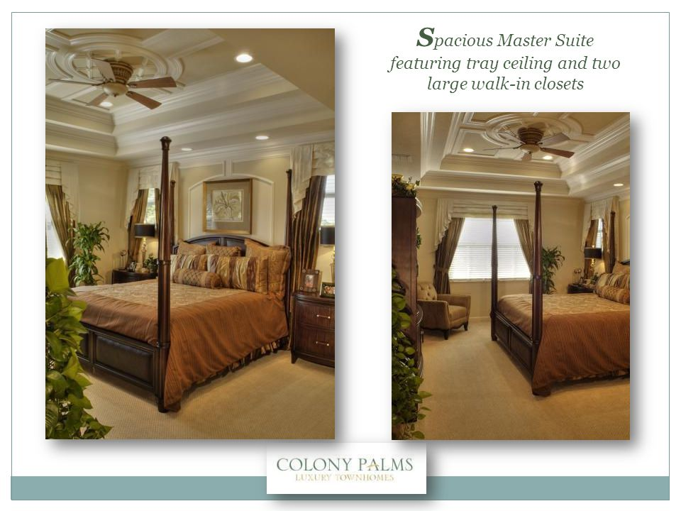S pacious Master Suite featuring tray ceiling and two large walk-in closets