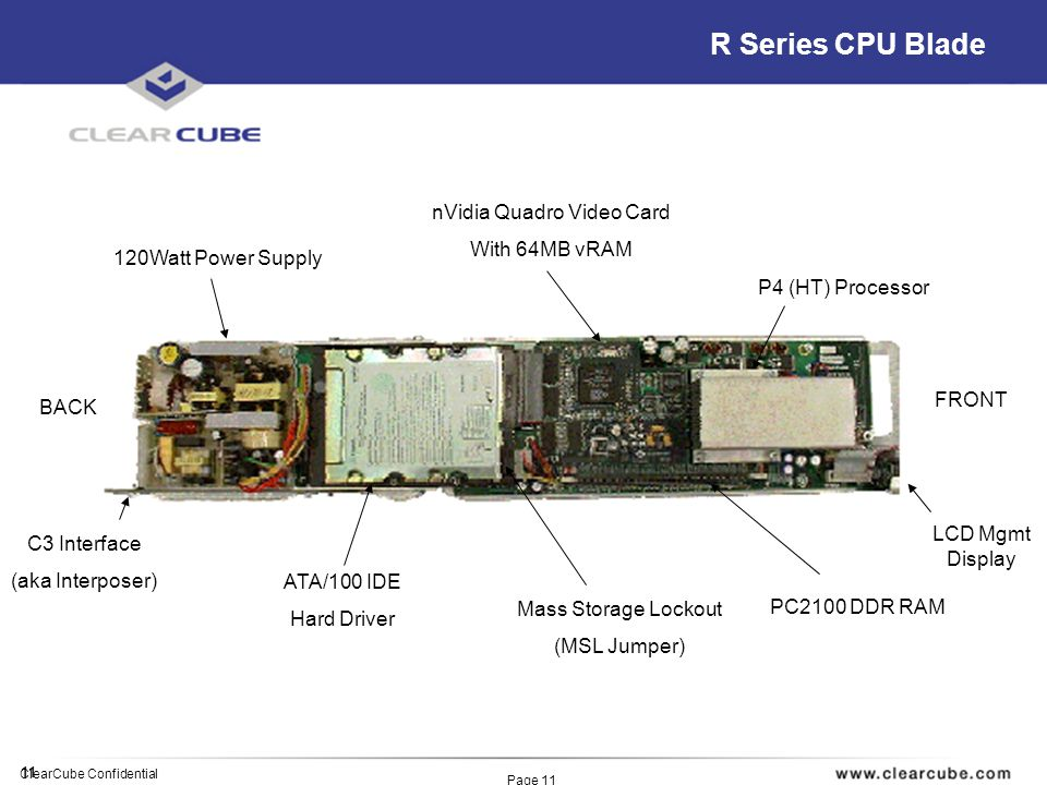 11 ClearCube Confidential Page 11 R Series CPU Blade P4 (HT) Processor PC2100 DDR RAM nVidia Quadro Video Card With 64MB vRAM Mass Storage Lockout (MSL Jumper) ATA/100 IDE Hard Driver 120Watt Power Supply C3 Interface (aka Interposer) FRONT BACK LCD Mgmt Display