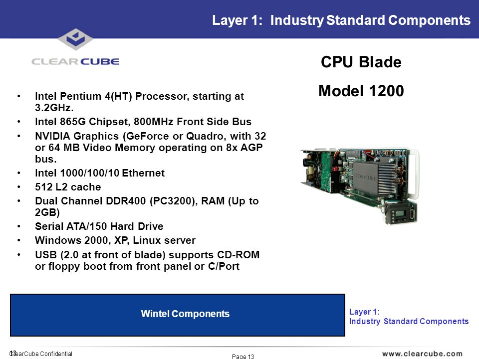 13 ClearCube Confidential Page 13 Layer 1: Industry Standard Components Wintel Components Layer 1: Industry Standard Components Intel Pentium 4(HT) Processor, starting at 3.2GHz.