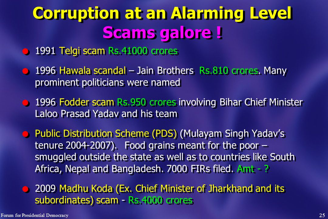 Corruption at an Alarming Level Scams galore .