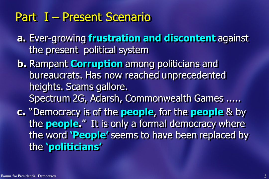 3 Part I – Present Scenario a.