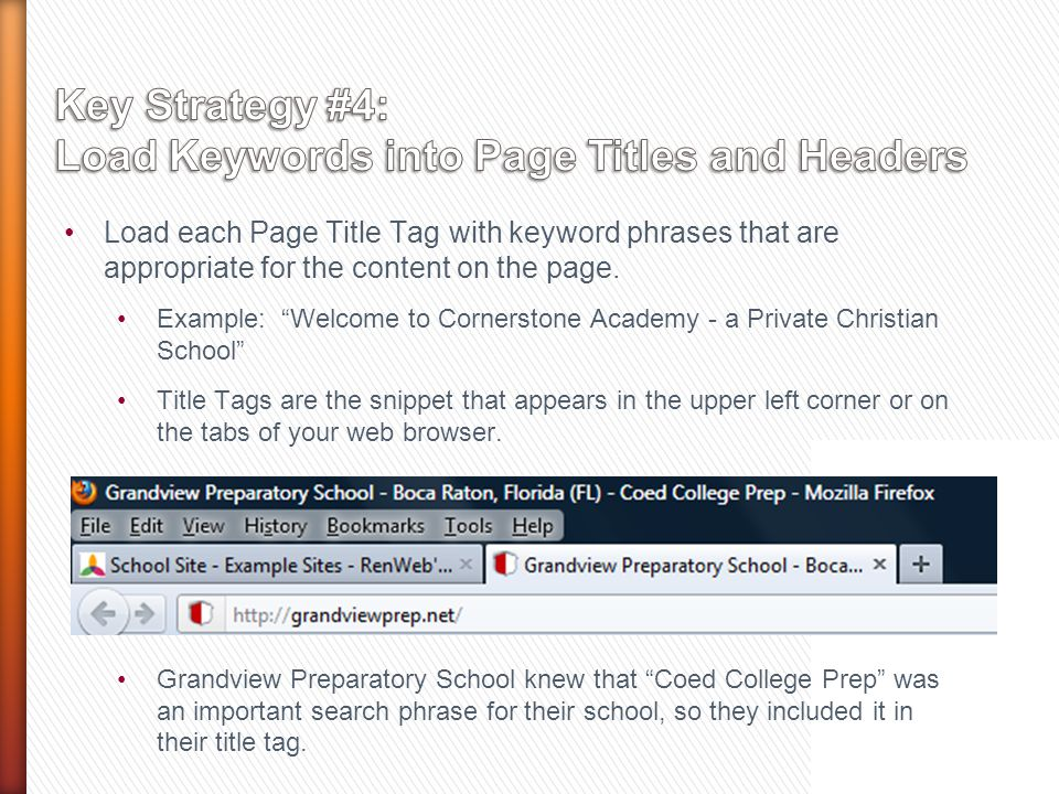 Load each Page Title Tag with keyword phrases that are appropriate for the content on the page.