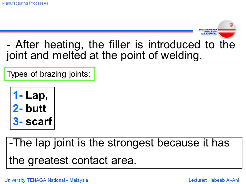 - After heating, the filler is introduced to the joint and melted at the point of welding.