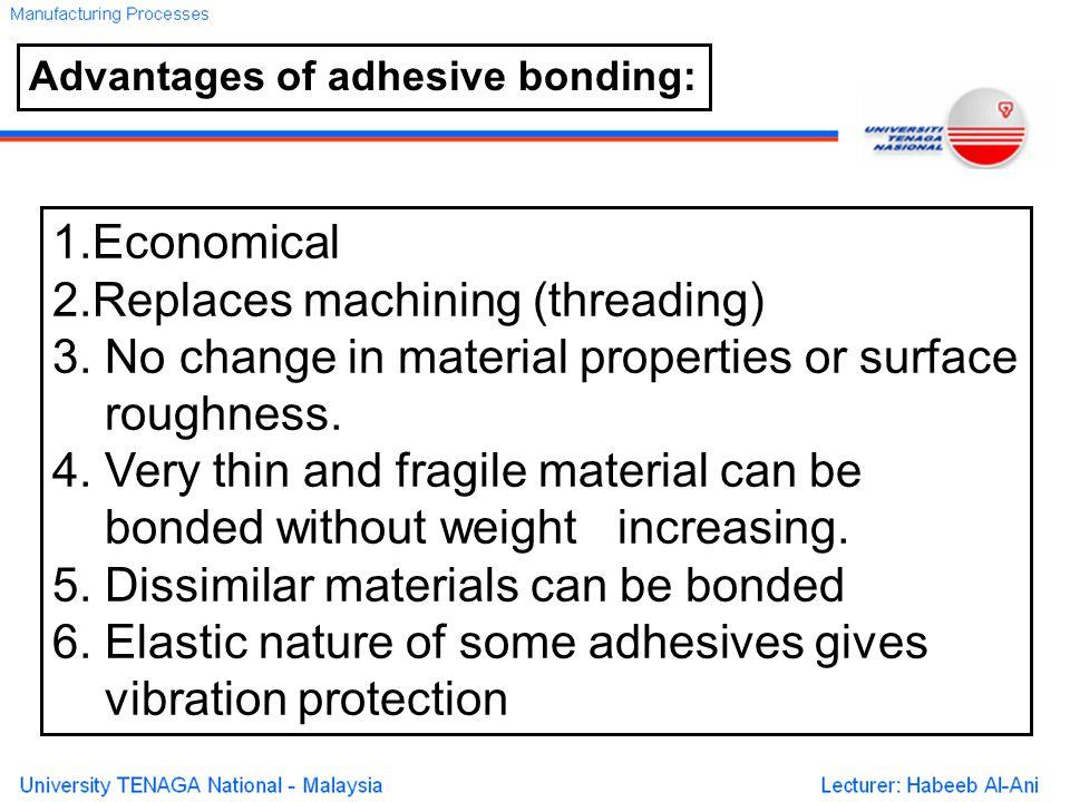 Advantages of adhesive bonding: 1.Economical 2.Replaces machining (threading) 3.