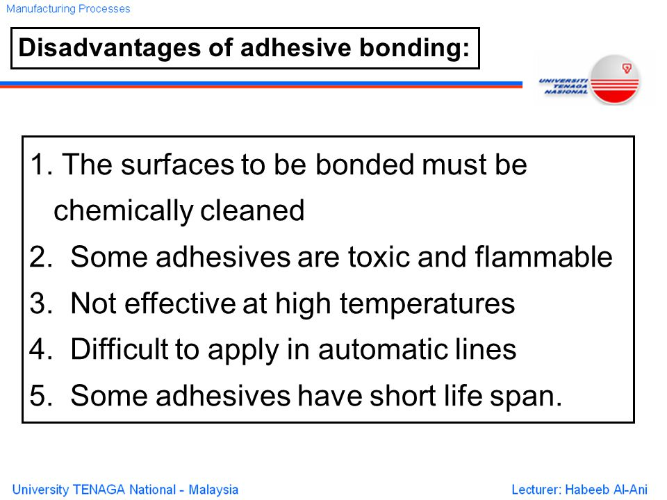 1. The surfaces to be bonded must be chemically cleaned 2.