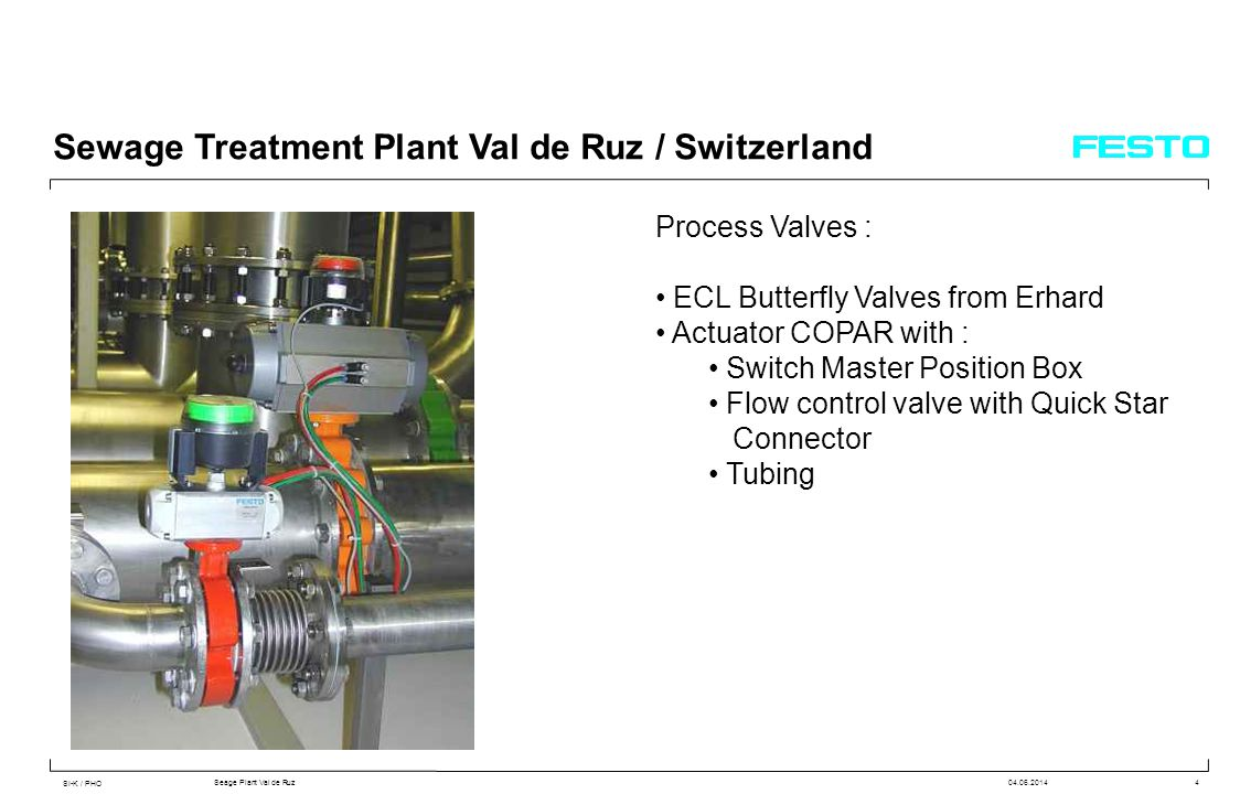 SI-K / PHO Seage Plant Val de Ruz04.06.20144 Sewage Treatment Plant Val de Ruz / Switzerland Process Valves : ECL Butterfly Valves from Erhard Actuator COPAR with : Switch Master Position Box Flow control valve with Quick Star Connector Tubing