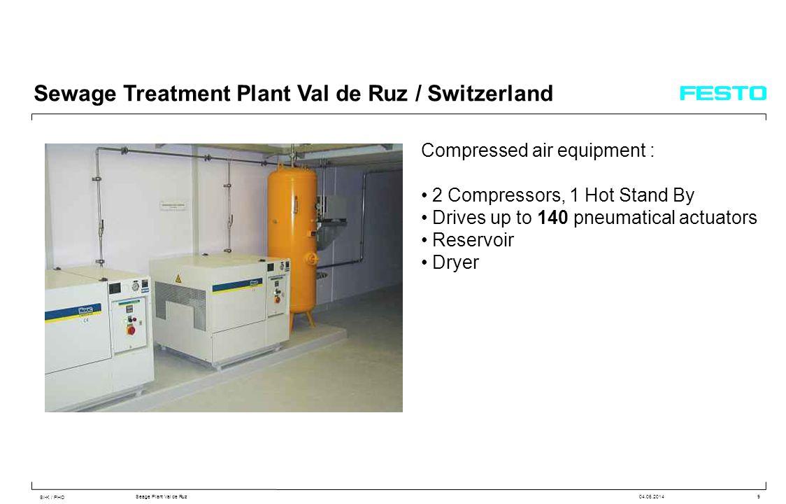 SI-K / PHO Seage Plant Val de Ruz04.06.20149 Sewage Treatment Plant Val de Ruz / Switzerland Compressed air equipment : 2 Compressors, 1 Hot Stand By Drives up to 140 pneumatical actuators Reservoir Dryer