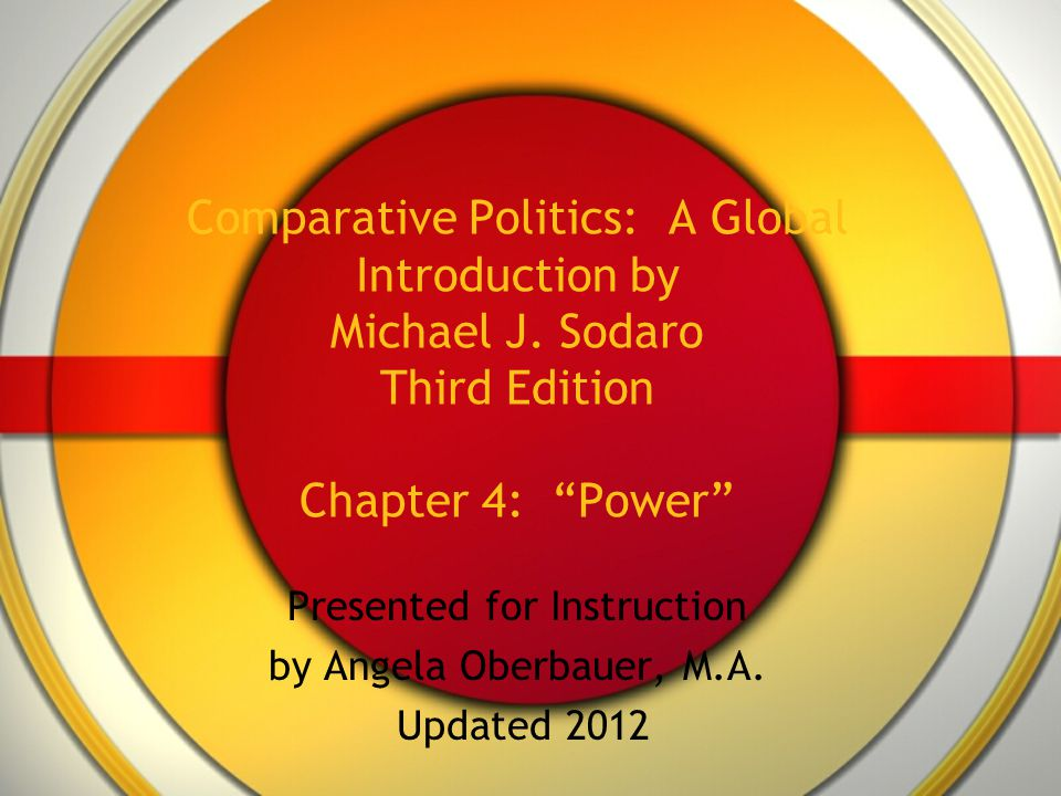 Comparative Politics: A Global Introduction by Michael J. Sodaro Third Edition Chapter 4: Power Presented for Instruction by Angela Oberbauer, M.A. Up
