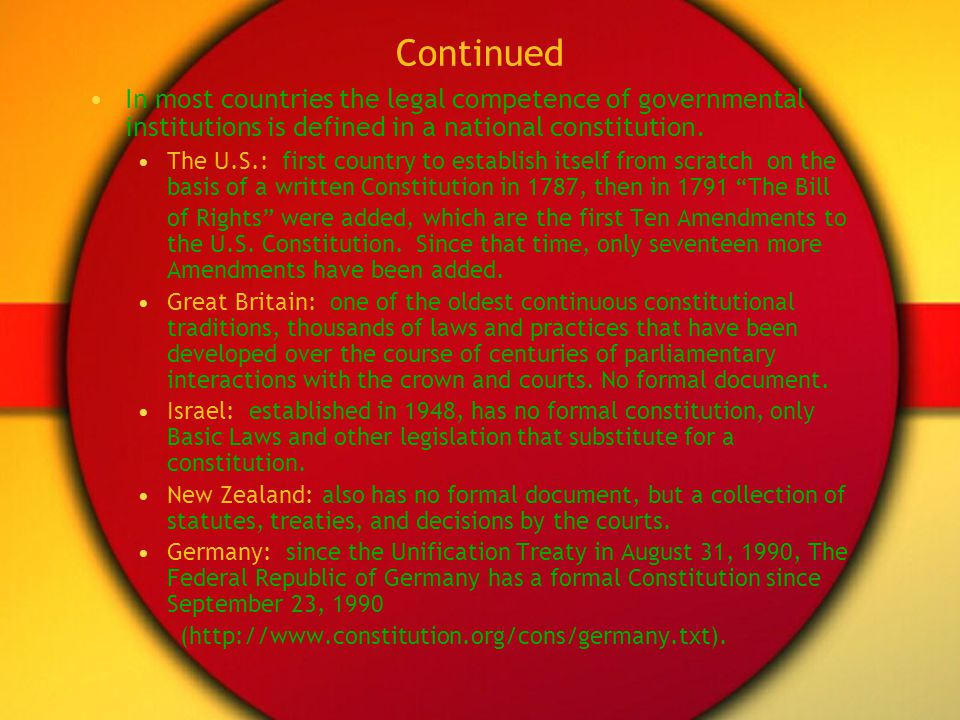 Continued In most countries the legal competence of governmental institutions is defined in a national constitution. The U.S.: first country to establ