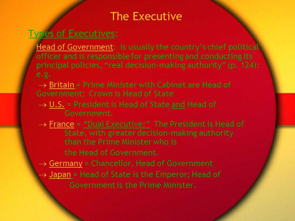 The Executive Types of Executives: Head of Government: is usually the countrys chief political officer and is responsible for presenting and conductin