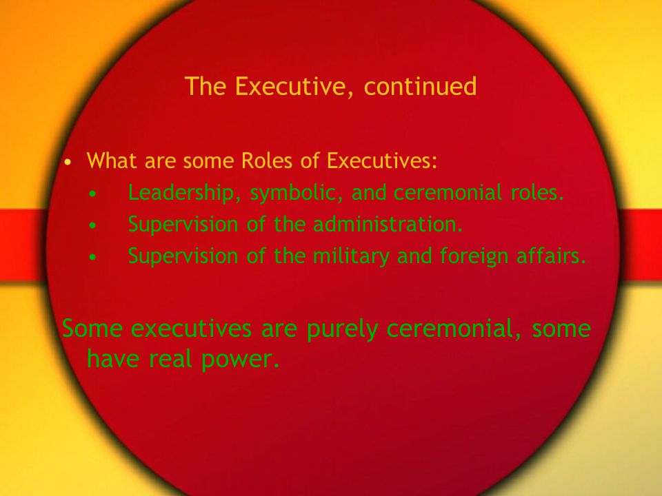 The Executive, continued What are some Roles of Executives: Leadership, symbolic, and ceremonial roles. Supervision of the administration. Supervision
