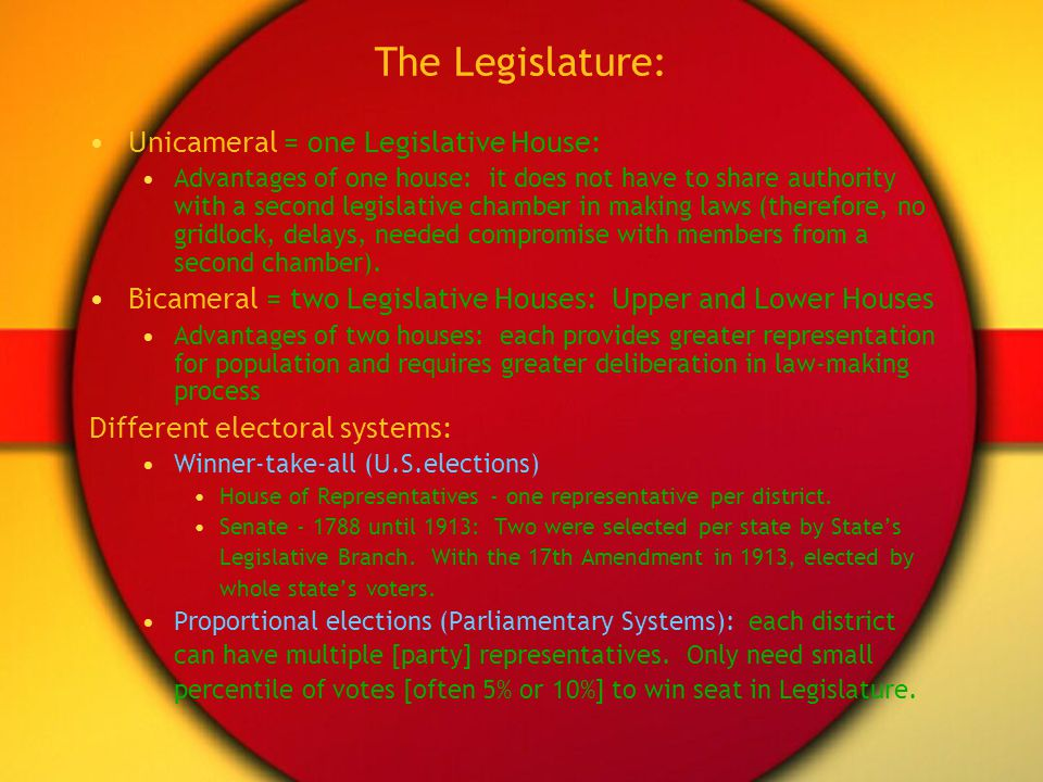 The Legislature: Unicameral = one Legislative House: Advantages of one house: it does not have to share authority with a second legislative chamber in