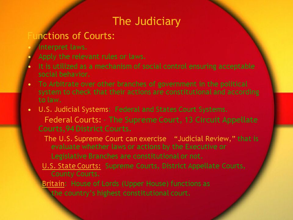 The Judiciary Functions of Courts: Interpret laws. Apply the relevant rules or laws. It is utilized as a mechanism of social control ensuring acceptab