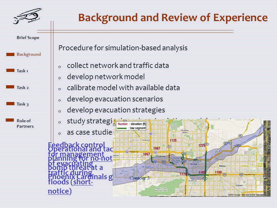 Background and Review of Experience Procedure for simulation-based analysis o collect network and traffic data o develop network model o calibrate model with available data o develop evacuation scenarios o develop evacuation strategies o study strategies based on simulation model outputs o as case studies: Operational and tactical planning for no-notice bomb threat at a Phoenix Cardinals game Feedback control for management of evacuating traffic during floods (short- notice) Brief Scope Background Task 1 Task 2 Task 3 Role of Partners