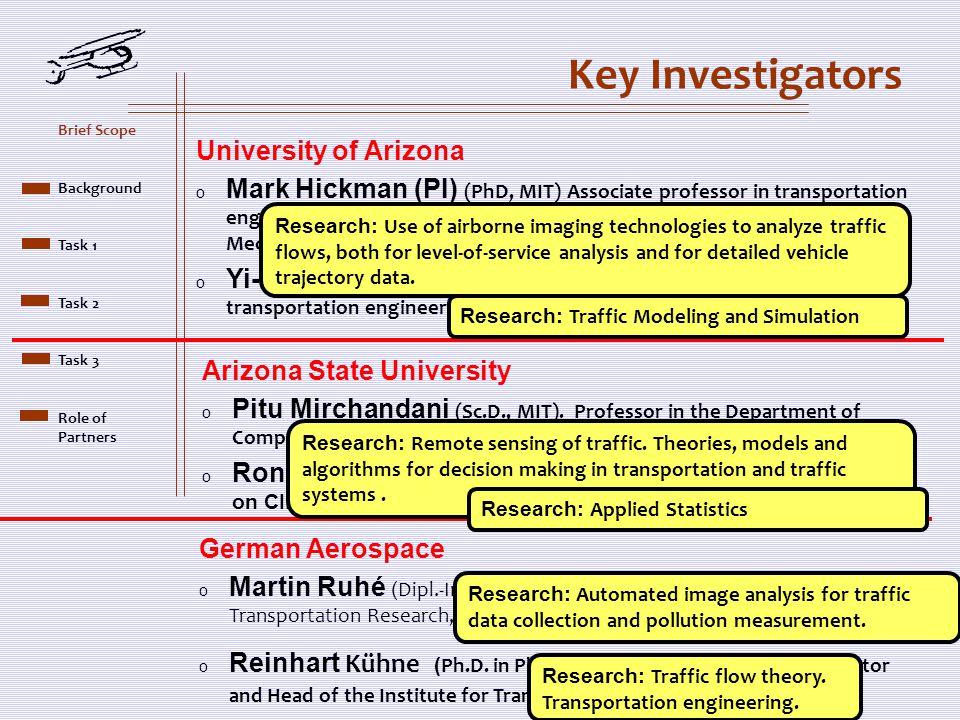 Key Investigators German Aerospace o Martin Ruhé ( Dipl.-Ing, Stuttgart) Associate Head, Institute of Transportation Research, DLR o Reinhart Kühne ( Ph.D.