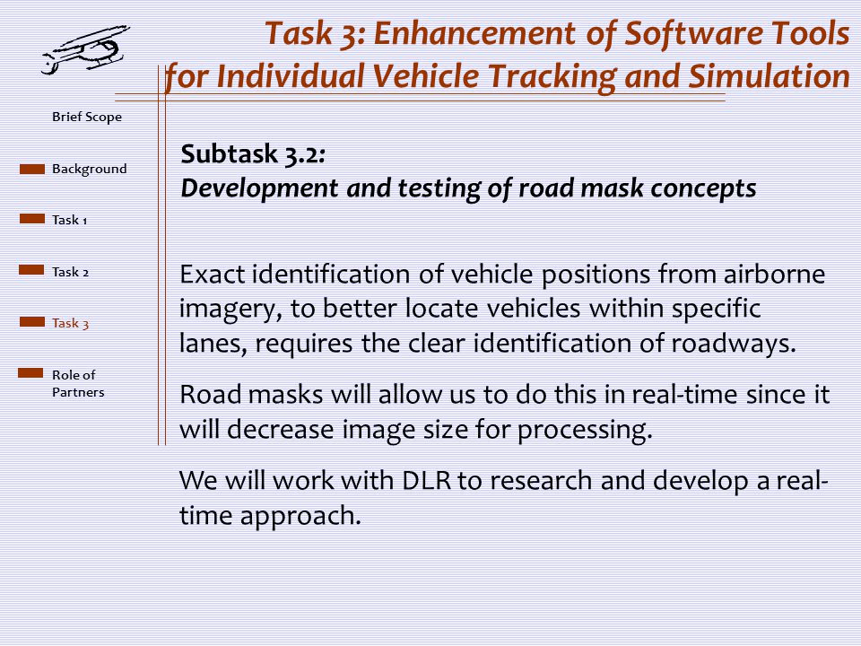 Task 3: Enhancement of Software Tools for Individual Vehicle Tracking and Simulation Subtask 3.2: Development and testing of road mask concepts Exact identification of vehicle positions from airborne imagery, to better locate vehicles within specific lanes, requires the clear identification of roadways.