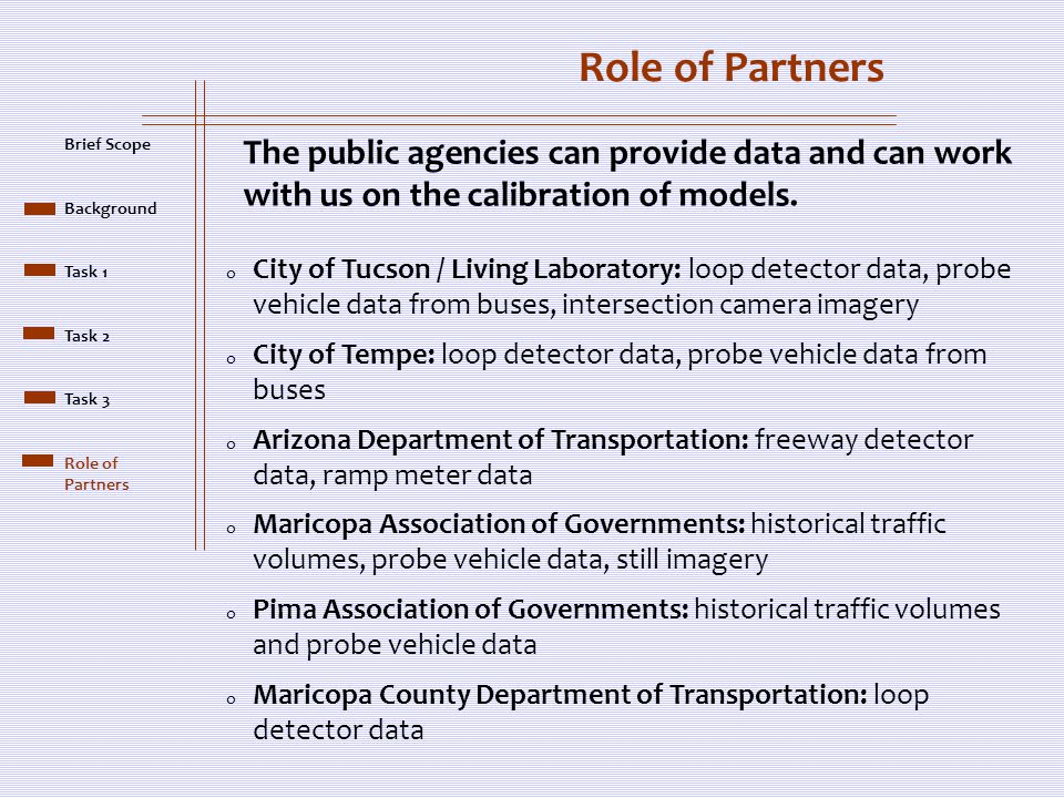 Brief Scope Background Task 1 Task 2 Task 3 Role of Partners o City of Tucson / Living Laboratory: loop detector data, probe vehicle data from buses, intersection camera imagery o City of Tempe: loop detector data, probe vehicle data from buses o Arizona Department of Transportation: freeway detector data, ramp meter data o Maricopa Association of Governments: historical traffic volumes, probe vehicle data, still imagery o Pima Association of Governments: historical traffic volumes and probe vehicle data o Maricopa County Department of Transportation: loop detector data The public agencies can provide data and can work with us on the calibration of models.