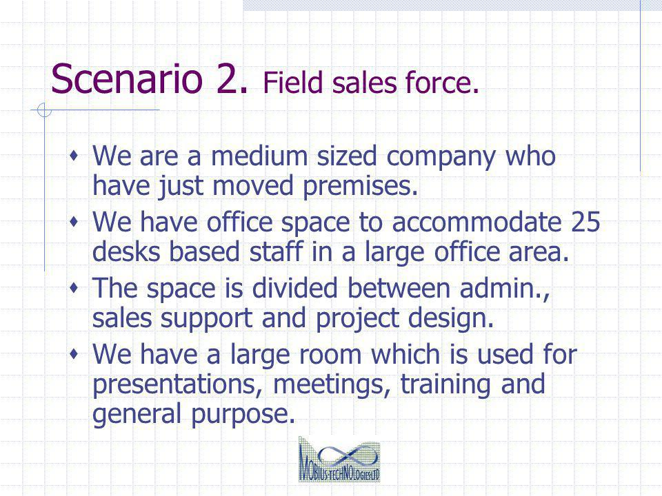Scenario 2.Field sales force. We are a medium sized company who have just moved premises.