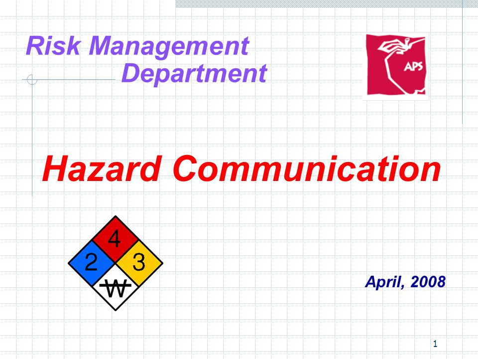 1 Risk Management Department Hazard Communication April, 2008