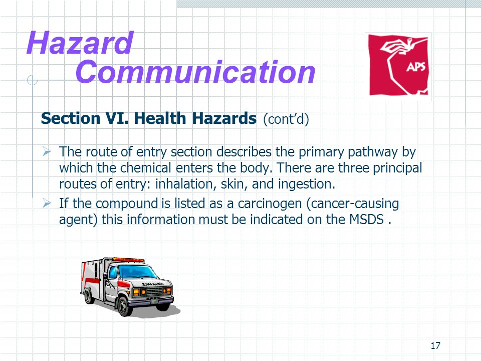 17 Hazard Communication Section VI.