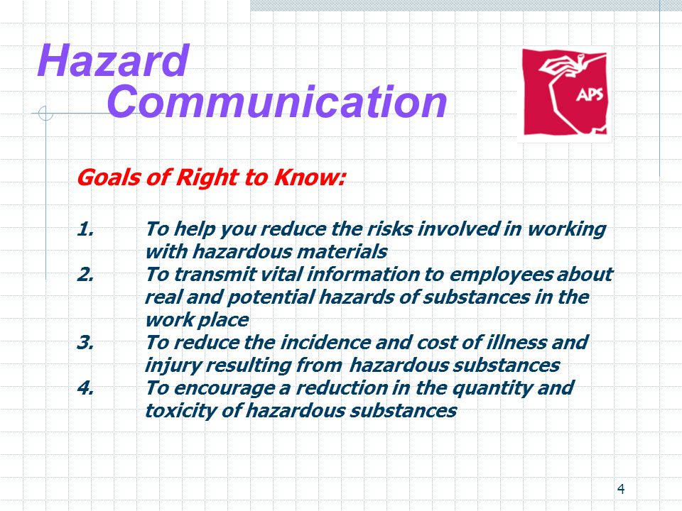 4 Hazard Communication Goals of Right to Know: 1.To help you reduce the risks involved in working with hazardous materials 2.To transmit vital information to employees about real and potential hazards of substances in the work place 3.To reduce the incidence and cost of illness and injury resulting from hazardous substances 4.To encourage a reduction in the quantity and toxicity of hazardous substances