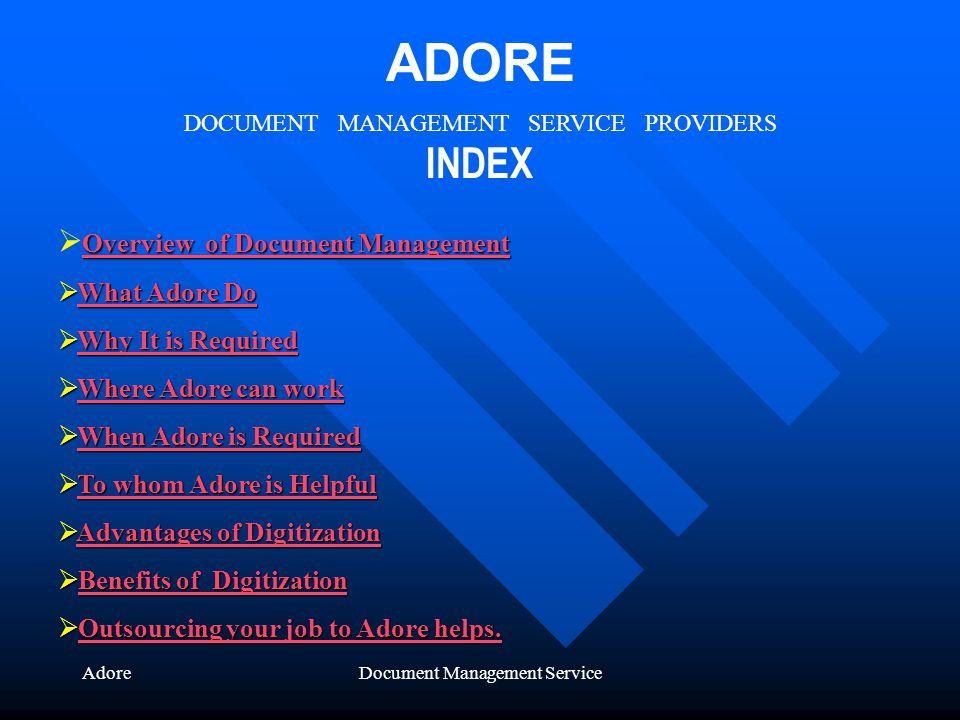 AdoreDocument Management Service ADORE DOCUMENT MANAGEMENT SERVICE PROVIDERS INDEX Overview of Document Management Overview of Document Management Ove