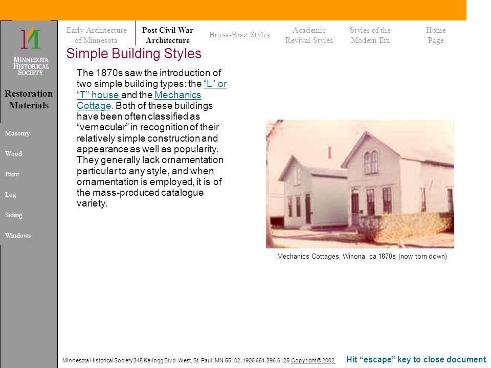 Minnesota Historical Society 345 Kellogg Blvd. West, St. Paul, MN 55102-1906 651.296.6125 Copyright © 2002 Hit escape key to close document Simple Bui