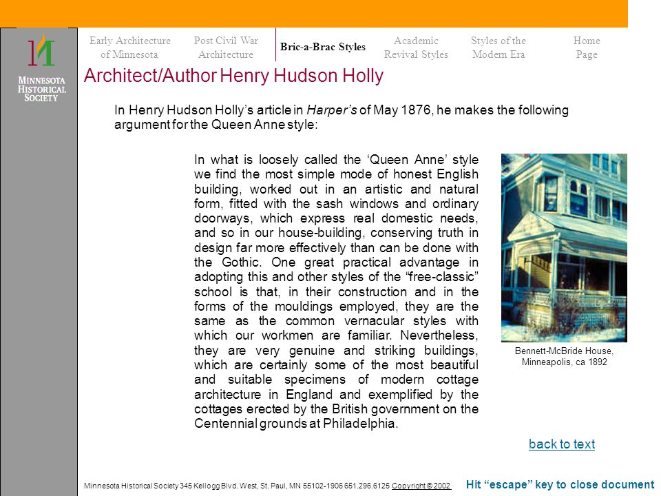 Minnesota Historical Society 345 Kellogg Blvd. West, St. Paul, MN 55102-1906 651.296.6125 Copyright © 2002 Hit escape key to close document Architect/