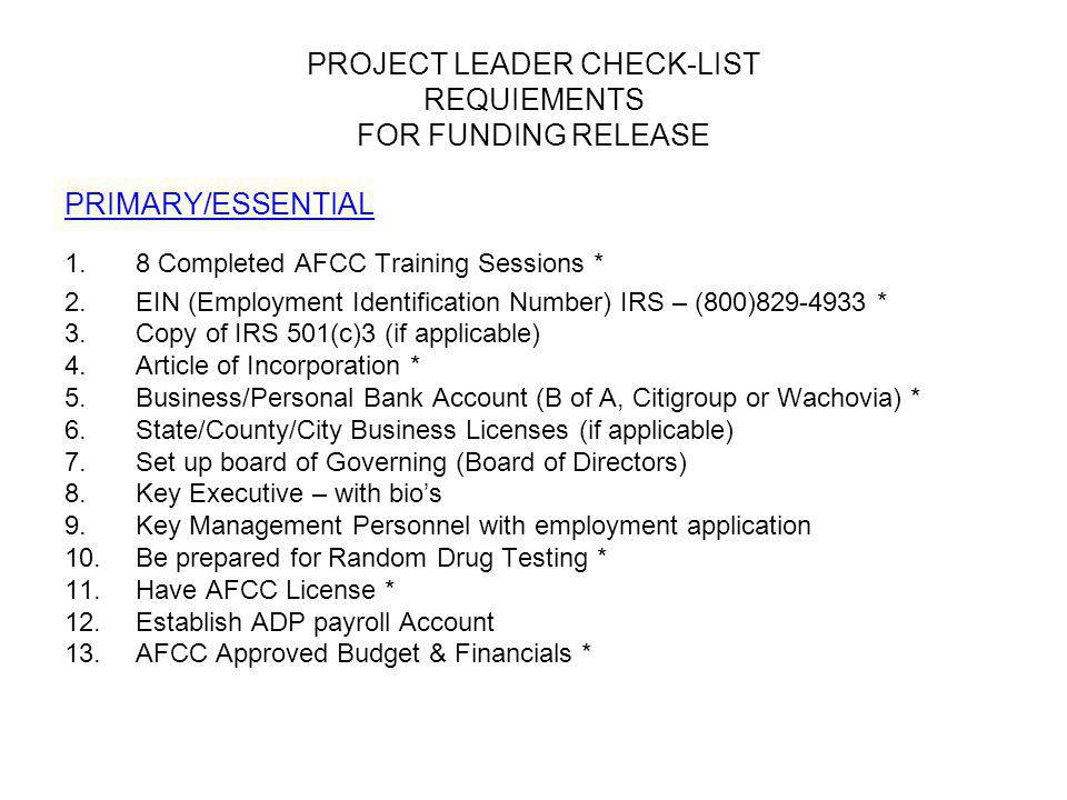 Required Items for AFCC 1.