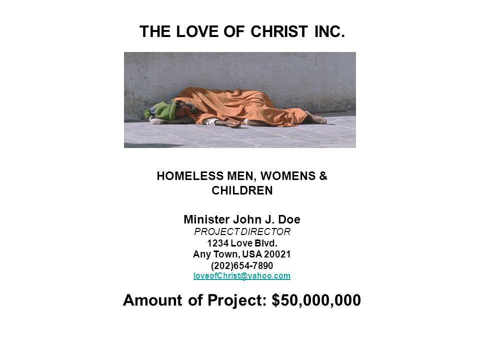 Minister John J. Doe Project Amount $50,000,000
