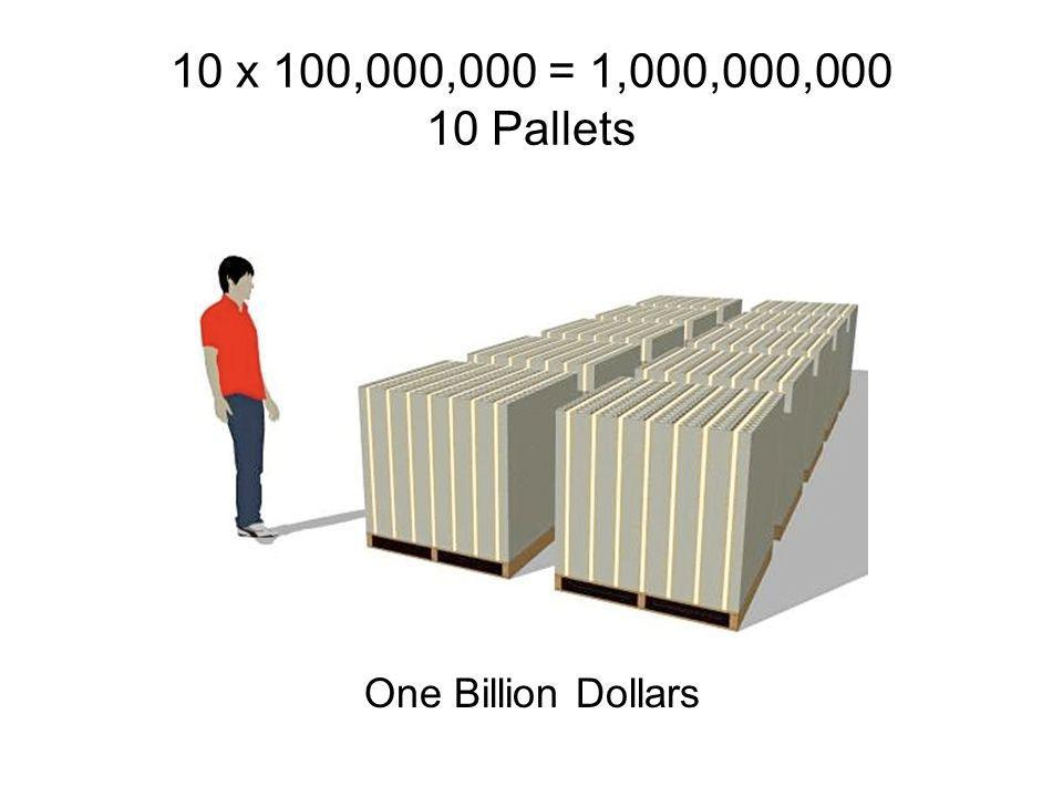 100 x $1,000,000 = $100,000,000 1 Pallet One Hundred Million Dollars