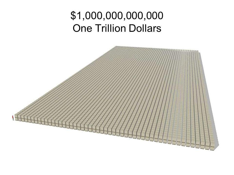 10 x 100,000,000 = 1,000,000,000 10 Pallets One Billion Dollars