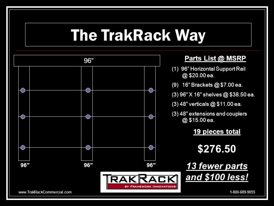 www.TrakRackCommercial.com 1-800-689-9055 4064 78 Parts List @ MSRP (1)40 Horizontal Rail @ $11.42 ea.