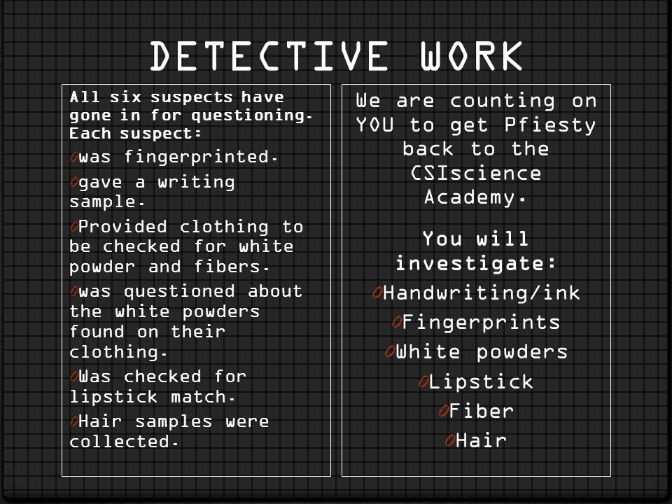 DETECTIVE WORK All six suspects have gone in for questioning. Each suspect: 0 was fingerprinted. 0 gave a writing sample. 0 Provided clothing to be ch