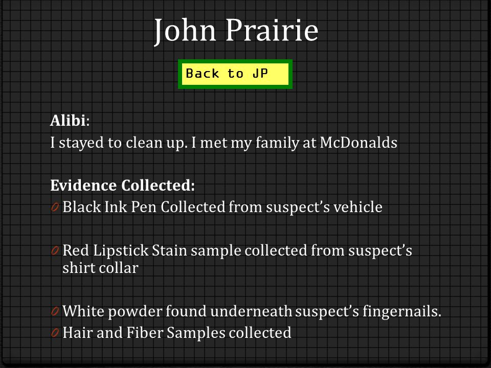 John Prairie Alibi: I stayed to clean up.