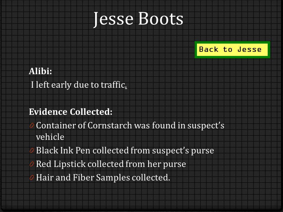 Jesse Boots Alibi: I left early due to traffic.