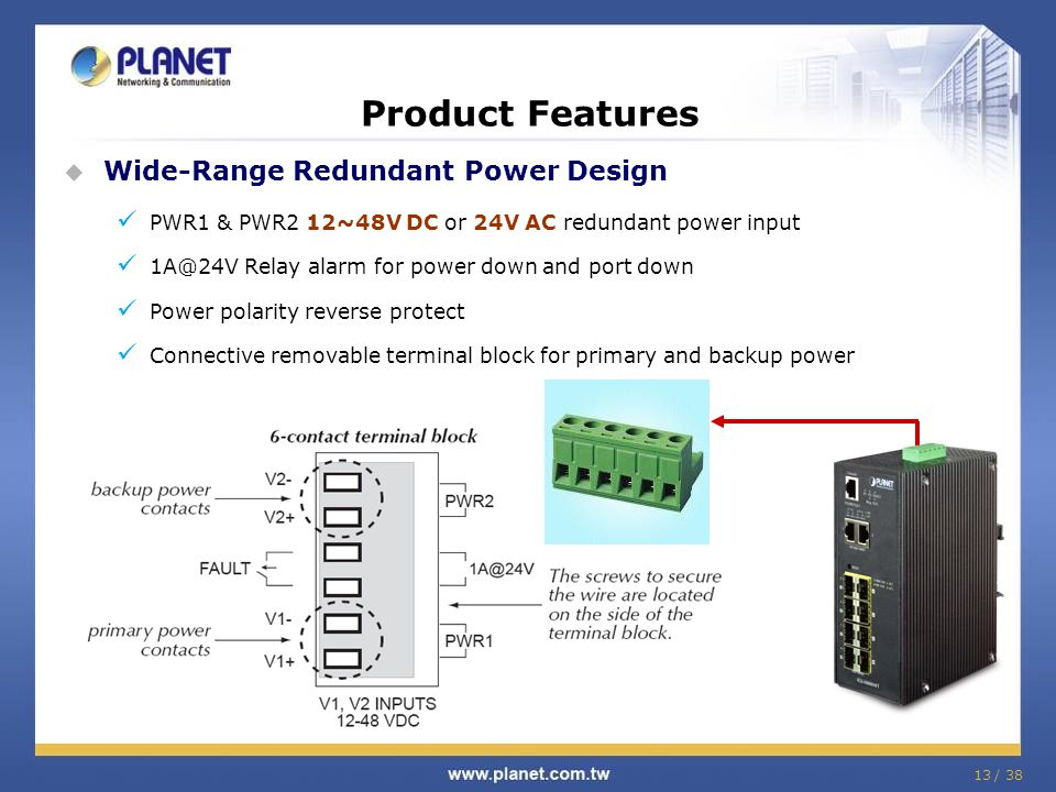 13 / 38 Product Features Wide-Range Redundant Power Design PWR1 & PWR2 12~48V DC or 24V AC redundant power input 1A@24V Relay alarm for power down and port down Power polarity reverse protect Connective removable terminal block for primary and backup power