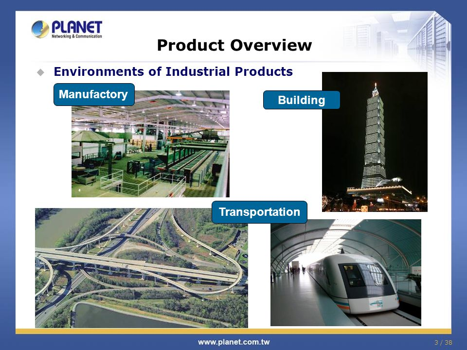 3 / 38 Product Overview Environments of Industrial Products Manufactory Building Transportation