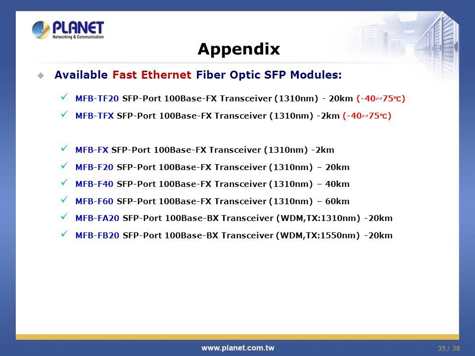 35 / 38 Appendix Available Fast Ethernet Fiber Optic SFP Modules: MFB-TF20 SFP-Port 100Base-FX Transceiver (1310nm) - 20km (-40~75 ) MFB-TFX SFP-Port 100Base-FX Transceiver (1310nm) -2km (-40~75 ) MFB-FX SFP-Port 100Base-FX Transceiver (1310nm) -2km MFB-F20 SFP-Port 100Base-FX Transceiver (1310nm) – 20km MFB-F40 SFP-Port 100Base-FX Transceiver (1310nm) – 40km MFB-F60 SFP-Port 100Base-FX Transceiver (1310nm) – 60km MFB-FA20 SFP-Port 100Base-BX Transceiver (WDM,TX:1310nm) -20km MFB-FB20 SFP-Port 100Base-BX Transceiver (WDM,TX:1550nm) -20km