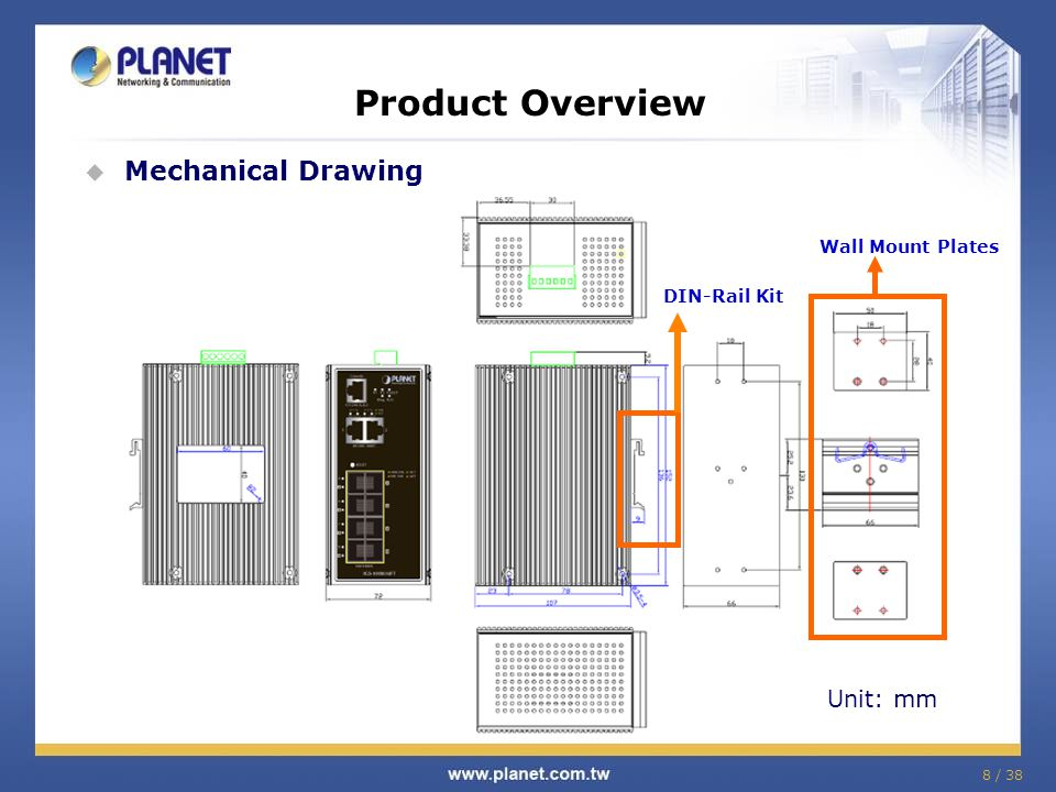 8 / 38 Product Overview Mechanical Drawing Wall Mount Plates DIN-Rail Kit Unit: mm