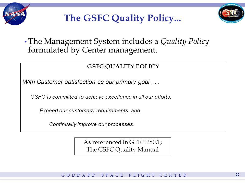 G O D D A R D S P A C E F L I G H T C E N T E R 25 The GSFC Quality Policy...