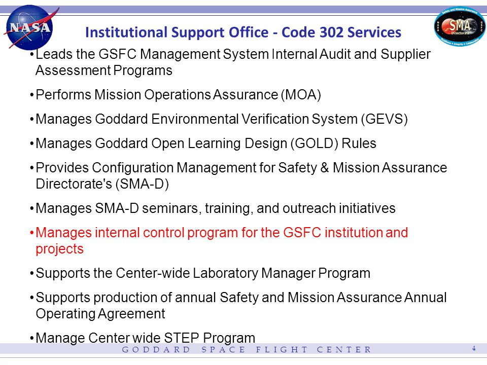 Figure 1 Code 302 Business Operations Institutional Support Office Functions Supply Chain Management GSFC Management System / Internal Audit SMA-D Configuration Management Mission Operations Support / Anomaly Management Environmental Test Verification / Problem Reporting Analysis GOLD Rules Management Mission OperationsGSFC Flight ProjectsGSFC Management System Representative Directorate MSC Representatives GSFC Directorates Code 300 Management Center Management HQ OSMA NASA Centers NASA Contractor / Supplier Community CSOs GPRS Users Engineers – GEVS / Rules CPRA Users Supply Chain Assessment Schedule Supplier Conference GSFC Project Supplier Listing Supplier Assessment Database Supplier Assessment Plans Supplier Assessment Reports GOLD Rules Documents GOLD Rules Website Waivers / Dispositions Code 300 Overview Presentations Educational Seminars Anomaly Assessment Reports Risk Assessment Reports SOARS Statistics / Metrics Lessons Learned Internal Audit Schedules Internal Audit Plans Internal Audit Reports GEVS Management GPRS Management CPRA Inputs / Charts Special Assessments Code 302 Pre-MSR Briefing Code 300 MSC Charts QSR Charts Code 300 QED Charts Directive Reviews ISO / AS Training Statement of Assurance Package Process Improvement / Training Process Maps / Matrices Branch Chief Requests 302 Personnel Requests PR Requests Auditee / Customer Surveys Project CSO Requests Supplier Listing Updates Supply Chain Assessment Requests Assessment Priorities Draft Assessment Plans / Reports NAMT Opportunities Supplier Corrective Actions 300 Pre-MSR SOARS Metrics SOARS Statistics SMA-D Related Waiver Requests Draft Directives Project GPRS Entries Flow-down Test Requirements Internal Audit Requests Internal Audit Results GSFC Corrective Actions GSFC MS Requirements HQ MS Flow-down Requirements Inputs Customers CM Requirements DM Requirements CM/DM Systems